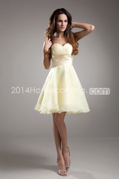 Homecoming+Dresses/Cocktail+Dresses/Evening+Dresses+Princess/A-Line+Sweetheart/Strapless+Sleeveless+Empire+Zipper+Short/Mini+Organza/Chiffon+Sash/Ribbon/Ruching/Beading
