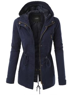 This anorak jacket with hood and drawstring waist is the perfect outerwear for this fall. Wear it with denim jeans for an instant edgy look. Feature - Lining: 100% Polyester; Outer Shell: 100% Cotton
