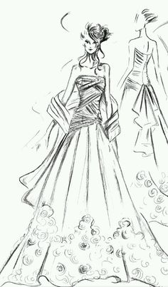 Realizzare alcuni sogni per il giorno perfetto! Fashion Illustration Sketches, Fashion Design Sketches, Illustrations, Dress Sketches, Drawing Sketches, Drawings, Fashion Figures, Learn To Paint, Black Art