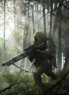 Through the wet forest by daRoz sniper soldier armor clothes clothing fashion player character npc | Create your own roleplaying game material w/ RPG Bard: www.rpgbard.com | Writing inspiration for Dungeons and Dragons DND D&D Pathfinder PFRPG Warhammer 40k Star Wars Shadowrun Call of Cthulhu Lord of the Rings LoTR + d20 fantasy science fiction scifi horror design | Not Trusty Sword art: click artwork for source