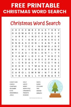 Free Christmas Word Search printable worksheet with 20 Christmas themed vocabulary words. Perfect for the classroom or as a fun Christmas activity at home. Christmas Word Search Printable, Printable Christmas Games, Fun Christmas Activities, Christmas Worksheets, Christmas Crafts For Kids, Christmas Themes, Christmas Holidays, Xmas Games, Holiday Games