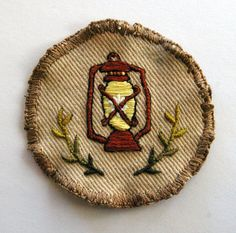 old fashioned lantern hand embroidered badge