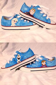 Disney's Frozen custom hand-painted Converse shoes featuring Elsa, Kristof, Anna, and Olaf