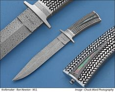 Fixed blade by Ron Newton.  Another knife now on my Christmas list.