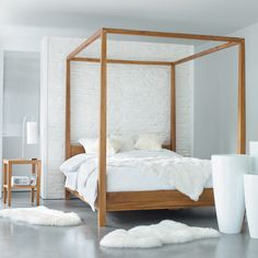 Canopy bed made of solid acacia wood, 160 x 200 - Four-poster bed AMSTERDAM - Contemporary Canopy Beds, Wood Canopy Bed, Winter Bedroom, Four Poster Bed, Poster Beds, Simple Bed, Affordable Furniture, Bedroom Styles, How To Make Bed