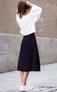 Midi skirt with sneakers #pixiemarket #normcore