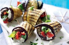 Marinated feta, yogurt and aubergine rolls