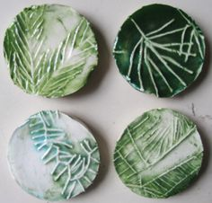Kindergarten- press a ball of clay into etched foam, paint with coat of green glaze