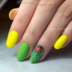 summer nail art ideas you'll wish to try 1 Ladybug Nails, Bee Nails, Spring Nails, Summer Nails, Animal Nail Designs, Fruit Nail Art, Cool Wrist Tattoos, Chevron Nails, Nails For Kids