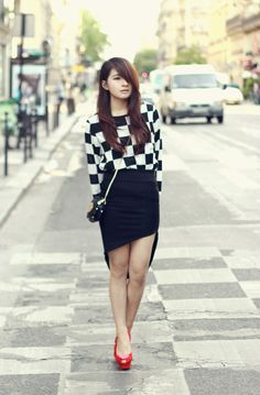 "Giddy up dress - Market HQ Oblique cutting asymmetric skirt - Romwe ""Heart & Lips"" Shoulder Bag - Romwe Delphine shoes - Charlotte Olympia"