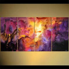 Large Purple Modern Painting MultiPanel Acrylic by OsnatFineArt, $739.00