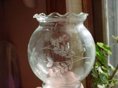 Vintage Antique Clear Etched Glass Vase Round w Ruffled Edge 5 inches tall Seller florasgarden on ebay