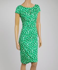 Look at this #zulilyfind! Green & Black Cap-Sleeve Dress #zulilyfinds
