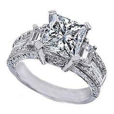 Princess Cut Diamond Vintage style Engagement Ring