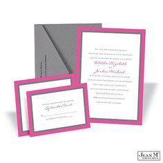 Bold Double Border Wedding Invitation -  Fuchsia