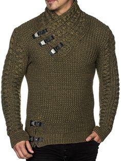 TAZZIO Herren Styler Grobstrick-Pullover mit stylishem Kragen u Melange-Strick Muster 16477 Khaki S: Amazon.de: Bekleidung