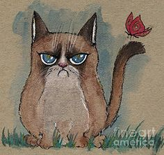 Grumpy Cat With Butterfly  by Angel  Tarantella