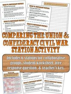 Civil War Stations Activity: Comparing the Union and ConfederacyThis is a fantastic lesson to get your students out of their seats and moving around the room while they work together to analyze the Union and Confederacy before the Civil War. 7th Grade Social Studies, Social Studies Classroom, Social Studies Resources, History Classroom, Teaching Social Studies, Teacher Resources, Teaching Us History, Teaching American History, American History Lessons