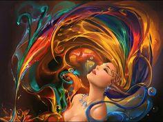 rainbow water hair