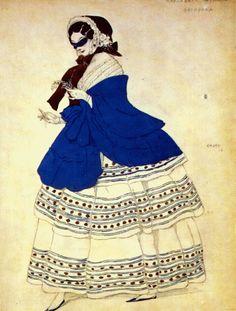 Costume design by Leon Bakst for Carnaval, 1910
