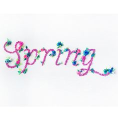 """The word """"Spring"""" made from several bits of folded paper and paper flowers by Jeanie Chong."""