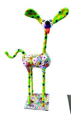 Whimsical dog -animal Collectibles- dog collectibles-metal base 100% handmade