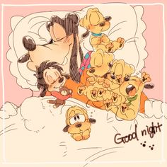 Aww how sweet. Goofy and max sleeping with pluto puppies.