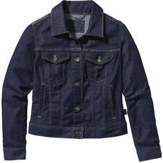 Patagonia Women's Denim Jacket (185 CAD) ❤ liked on Polyvore featuring outerwear, jackets, dark denim, slim denim jacket, patagonia, blue jean jacket, jean jacket and dark denim jacket