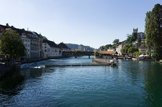 Luzern Photography, Switzerland Photography, Luzern print, Old city, Luzern Wall Art, Travel photography, River Reuss, Luzern Decor by NWGallery on Etsy