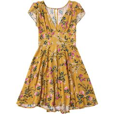 Floral Plunging Neck Cut Out Dress Yellow ($32) ❤ liked on Polyvore featuring dresses, floral day dress, plunge-neck dresses, floral print dress, flower print dress and cut out dresses