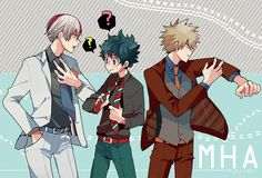 Izuku, Shouto, Katsuki, suits, outfits, cool, text; My Hero Academia
