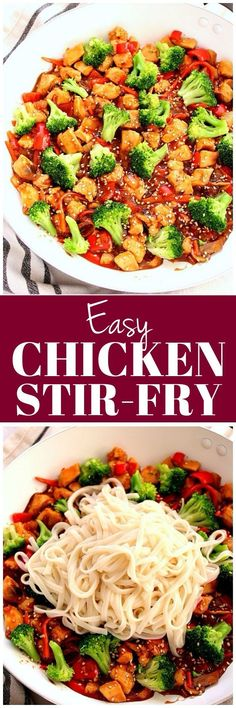 Easy Chicken Stir Fry Recipe - quick and easy vegetable and chicken stir fry with delicious teriyaki sauce. Perfect served with noodles or rice. I will use cauliflower rice and approved keto for the brown sugar Chicken Vegetable Stir Fry, Easy Chicken Stir Fry, Chicken And Vegetables, Healthy Chicken Recipes, Asian Recipes, Vegetable Recipes, Sauce Teriyaki, Teriyaki Noodles, Rice Noodles