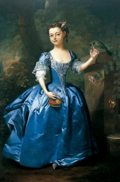1740 portrait of a girl in a beautiful blue dress. The artist isn't noted but it had to be a well known one. Only the best could paint silk satin like this blue silk satin is painted. Gorgeous.