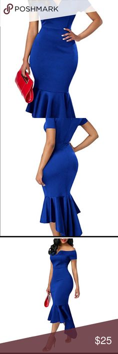 ❣️Blue Off the Shoulder Midi Dress❣️ This sexy dress is Polyester and Spandex, it has a high low mermaid hem, off the shoulder style with short sleeves, it has a slight V-neck, satin look! Sexy and fitted. Size ( L), never been worn! Brand new without tags!! No flaws, wear or tear! Dresses Midi