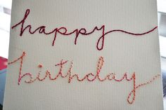 Embroidering a birthday card will impress people but no one will actually know it actually takes zero crafting skill. Diy Embroidery Cards, Embroidery Monogram, Paper Embroidery, Embroidery Applique, Cross Stitch Embroidery, Handmade Birthday Cards, Happy Birthday Cards, Greeting Cards Handmade, Embroidered Paper