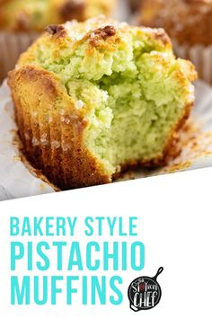 Bakery Style Pistachio Muffins - - These Pistachio Muffins taste like they came from a bakery with their perfectly domed tops and delicious pistachio flavor. Pistachio Muffins, Pistachio Recipes, Pistachio Cupcakes, No Bake Desserts, Just Desserts, Health Desserts, Baking Desserts, Cake Baking, Brunch Recipes