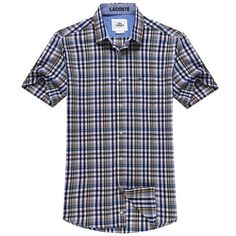 Lacoste 1 to 1 quality striped fashion shirt, short sleeve plaid shirt for men, copy from original style