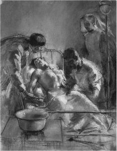 Henry Tonks, Saline Infusion: An Incident in the British Red Cross Hospital Arcen-Barrois, 1915, pastel, 67.9 · 52 cm. Reproduced by permission of the Trustees of the Imperial War Museum.