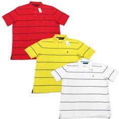 NAUTICA Mens Pique Cotton Polo Shirt with Thin Blue Stripe NWT #Nautica #PoloRugby