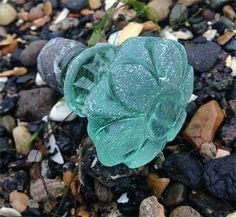 Glass knob washed up on the beach. (I would pee myself to find a treasure like this!)