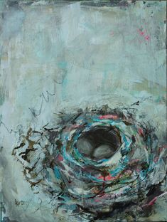 """Part of my mixed media nest painting series. To see more or to learn about my art, please visit my website. 24"""" x 18"""" India Ink, Contemporary Paintings, Mixed Media, Fine Art, Nest, Artist, Website, Nest Box, Artists"""