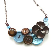Vintage Button Jewelry Button Necklace in by buttonsoupjewelry, $30.00