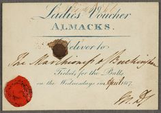 Ladies voucher for Almack's - used with kind permission STG Misc. Box 7 (Almack's Voucher), © The Huntington Library, San Marino, CA