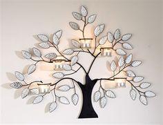 tea light trees | Metal Tree Candle Holder - Tea Light Decoration Art - Tree Branch Leaf ...