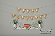 Happy Birthday Banner Burlap Bunting Hessian Garland Party Celebrations Custom