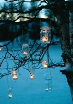 re-use glass jars for hanging candle holders