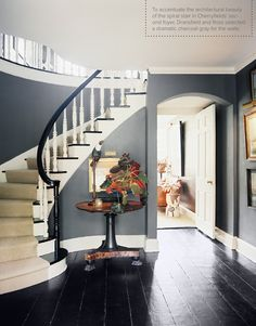 thinking the entry, and stairs, and the dark flooring with blue walls, white trim would look like this picture A curved staircase in a blue hallway Interior Design Blogs, Blue Hallway, Curved Staircase, Staircase Ideas, Modern Staircase, Staircase Design, Staircase Decoration, Staircase Architecture, Staircase Remodel
