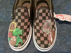 Handpainted Plants vs. Zombies on Vans shoes by ThePaintedChild, $85.00