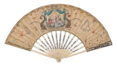 This charming fan was sold at auction at Christie's in London for $1,233 (£750) - a bargain when one considers its historical significance.  The fan was made in the 18th Century.  The center images are that of Marie Antoinette and Louis, when they were still dauphine and dauphin of France.  The silk leaf has been embellished with sequins; the sticks are ivory.