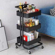 Raft premium mobil culoare negru - elastixshop.ro Kitchen Storage Cart, Storage Trolley, Trolley Cart, Kitchen Cart, Storage Shelves, Storage Ideas, Office Bathroom, Kitchen Office, Plastic Shelves